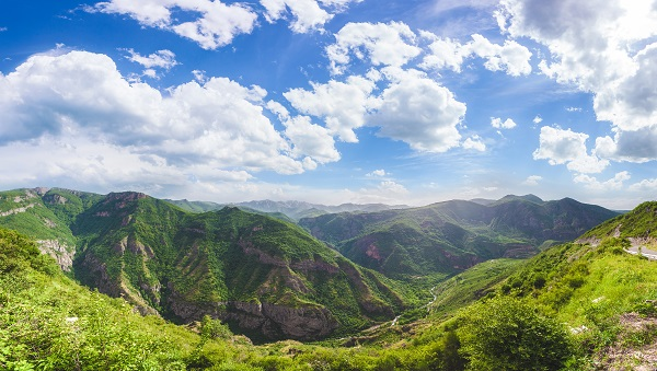 The beautiful view on green Armenian mountains during the summer