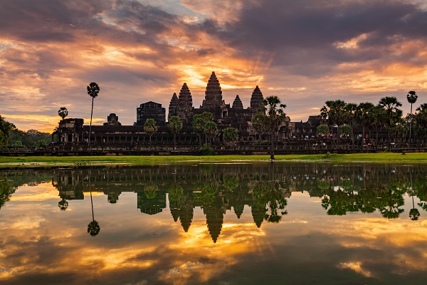 The beautiful view on a sunset near Angkor Wat in Cambodia